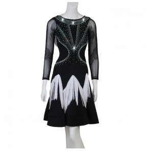 Black with white fringes Competition latin dance dress for women girls ballroom salsa chacha dance dresses