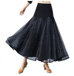 Black with white polka dot competition women ballroom dancing skirts female women's stage performance waltz tango dancing skirts