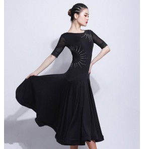 Black women's girls ballroom dance dresses professional competition waltz tango stage performance long dresses