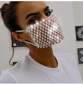 Bling hollow beads rhinestones fashion jewelry face masks for women stage performance night club party photos shooting mouth mask for female
