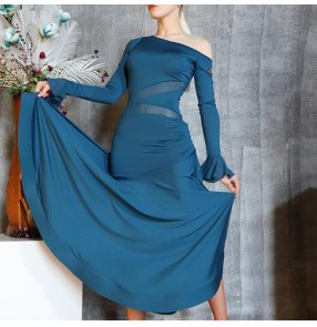 Blue ballroom dance dress women Oblique shoulder long sleeves Modern dance skirts waltz tango dance dresses Large swing fish bone practice skirt