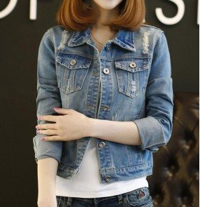 Blue Denim jacket for women's long-sleeved Korean jacket short slim fit ripped all-match coat  plus size