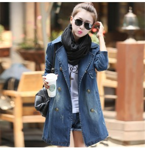 Blue Denim lapel collar middle long length jacket women women's Korean style long-sleeved mid-length denim trench coat