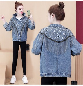 Blue denim Loose short jacket for women girls rivet beaded and diamond tassel coats short denim jacket women