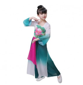Blue gradient chinese folk dance dress for girls kids china classical dance costumes hanfu fairy yangko umbrella performance dress for girls