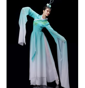 Blue gradient color Chinese traditional Classical folk dance costumes for women girls fairy Hanfu Jinghong Dance waterfall Sleeve Dance Costume for female