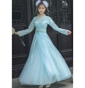 Blue Hanfu for women chinese ancient traditional clothing han tang ming dynasty gown for female fairy princess cosplay dress video photos shooting clothes