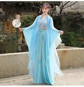Blue Hanfu for women Han Tang Ming dynasty chinese ancient traditional clothing for female fairy princess cosplay robe shooting annual party dance performance costume