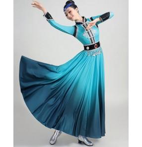 Blue Mongolian dance dress for women adult Mongolian dance performance costume grassland dance robe Female minority modern dance Mongolia clothing