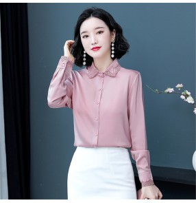 Blue pink satin office lady shirt women long-sleeved stain blouses fashion loose embroidered blouse dress shirt