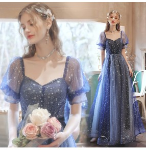 Blue puff sleeve Birthday party stage performance Dresses for women catwalk Vocal art examination cantata wedding cocktail banquet evening dress