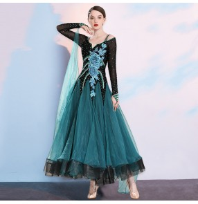 Blue red diamond Competition ballroom dance dresses for women waltz tango floral foxtort smooth dance dresses for female