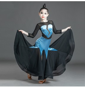 Blue with black velvet ballroom dancing dress for girls kids modern dance waltz tango dance dress ballroom dance costumes for children