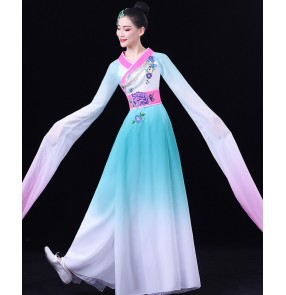 Blue with pink gradient chinese folk dance costumes hanfu for women female water sleeves fairy princess fan umbrella dance dress