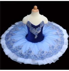 Blue with white swan lake ballet dance dress for kids classical ballerina tutu pancake skirt ballet dance costumes for girls