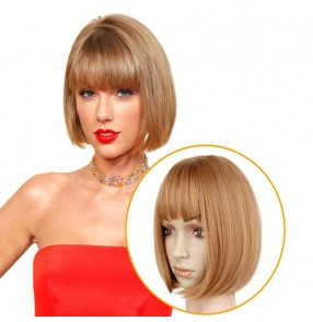 Bobo wig synthetic blonde black short length straight wig with bangs for women drama cosplay or daily use