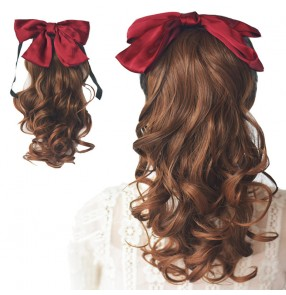 Bowknot Ponytail wig ffor women girls stage performance bow tie long curly hair ponytail curly wavy hair piece for photos shooting