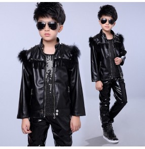 Boy black fur leather jazz dance costumes street modern dance hiphop drummer singers host model stage performance outfits jacket vest and pants
