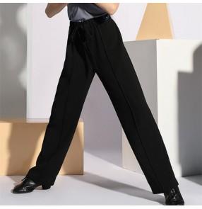 Boy Black Grey Latin dance long pants grade examination ballroom latin competition long trousers boys training practice trousers
