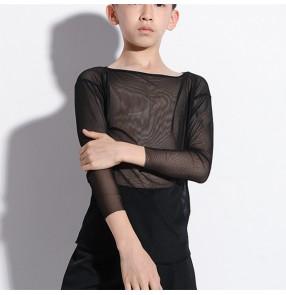 Boy Black Latin Dance Shirts for kids practice training practice ballroom latin dance mesh tops long sleeves Modern Dance shirts for children