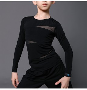 Boy black white Latin dance shirts kids long-sleeved shirt boys ballroom performance competition clothes professional training tops