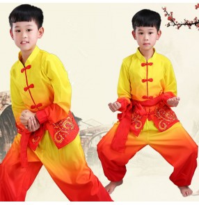 Boy children china taichi wushu costumes kids kungfu costumes stage performance training martial uniforms