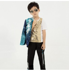 Boy children green sequin jazz hiphop street dance model show costumes singer host show drummer school competition stage performance costumes