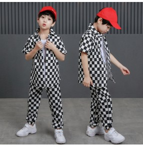 Boy children hiphop street dance costumes fashion kids children school show stage performance gogo dancers plaid shirts and pants