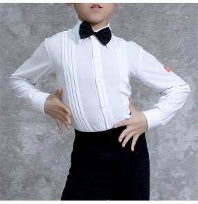 Boy children white latin dance shirts ballroom latin dance body tops stage performance competition dance shirts for kids