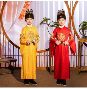 Boy chinese Ancient folk Costume han Ming Song Dynasty Emperor king cosplay robe Prince dragon robe for kids Stage performance drama cosplay gown photo studio wear