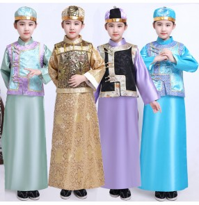 Boy chinese ancient Qing dynasty performance robes kids prince little emperor Manchu young master Age Belle clothing emperor cosplay costumes for kids