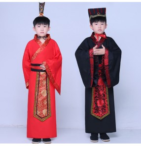 Boy chinese folk dance costumes for kids children ancient traditional hanfu qing dynasty minister photos drama dance studio cosplay kimono dress