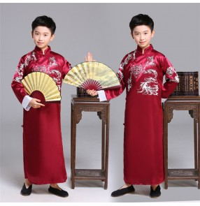 Boy chinese folk dance costumes kids ancient traditional qipao dress stage performance drama cosplay crosstalk dresses