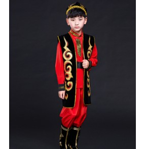 Boy chinese folk dance costumes kids children xinjiang minority Uygur dance clothing costumes