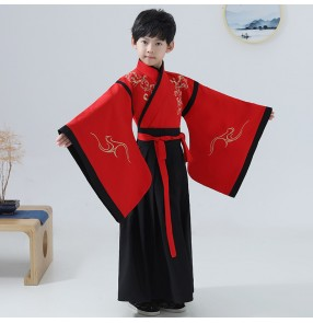 Boy chinese hanfu kids children chinese ancient emperor drama cosplay confucius school performance dresses