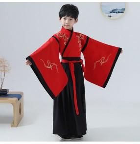Boy chinese hanfu kids children chinese ancient emperor drama cosplay confucius school performance dresses