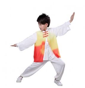 Boy chinese kungfu costumes China tachi wushu martial uniforms china style stage performance clothing