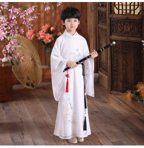 Boy Chinese tang han qing ming dynasty white red Hanfu children photos shooting Ancient warrior swordsman prince performance cosplay Costume tang suit crosstalk long gown for kids