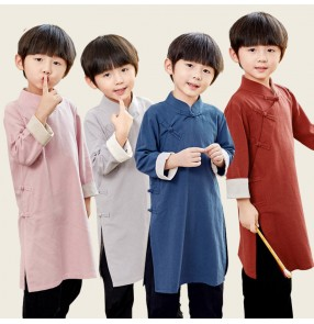 Boy cotton and linen crosstalk Gown costume allegro Recitation performance Tang suit Chinese kungfu wushu performance robe May 4th Republic of China children's gown