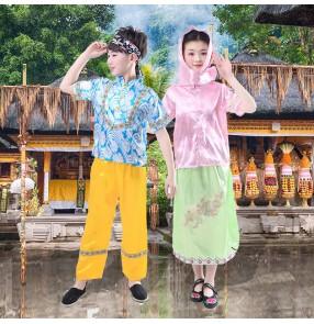 Boy girls Children folk dance costumes Indonesian dance performance costumes drama film cosplay dresses for kids