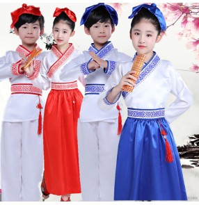 Boy girls chinese folk dance costumes hanfu chinese confucius school stage performance chorus reading performance dress