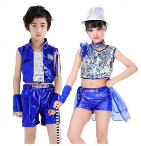 Boy girls hiphop modern jazz dance costumes street jazz singers chorus school competition drummer performance dress