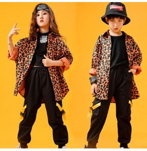 Boy girls leopard jazz dance costumes kids hiphop street gogo dancers rap dance host singer model show performance coat and pants