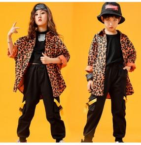 Boy girls leopard jazz dance costumes kids hiphop street gogo dancers rap dance host singer model show performance coat and pants