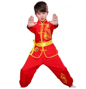 Boy girls red colored chinese dragon wushu kungfu uniforms children martial taichi stage performance china performing costumes