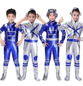 Boy girls robot dance space stage performance costumes kids children cartoon astronaut space performance modern dance outfits