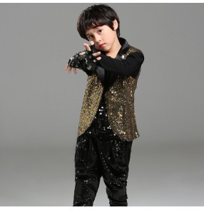 Boy gold sequin hiphop jazz dance costumes modern dance singers gogo dancers drummer stage performance outfits tops vest and pants