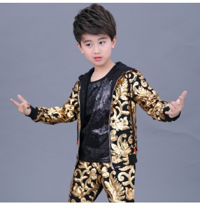 Boy gold sequin jazz dance costumes drummer show performance modern street hiphop dance jacket vest and shorts