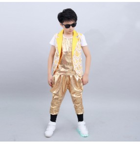Boy gold sequin jazz dance costumes modern dance street hiphop rap host singers gogo dancer outfits model show performing costumes
