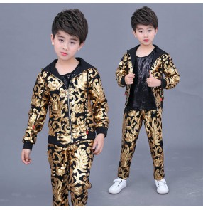 Boy Gold sequined hip-hop Jazz dance costume fashion model show catwalk drum gogo dancers singers performance costume